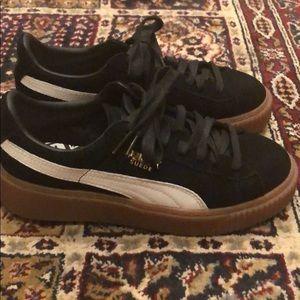 Women's Puma Black Suede Platform Sneakers 7.5